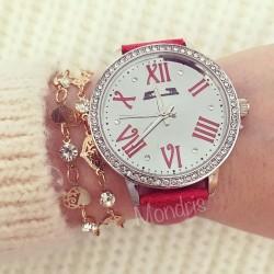 Ceas dama Matteo Ferrari rosu  cu cadran alb si curea din piele ECO