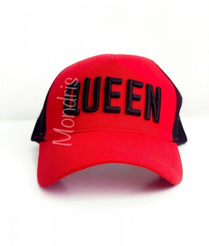 Sapca femei neagra si rosie cu cozoroc si broderie Queen