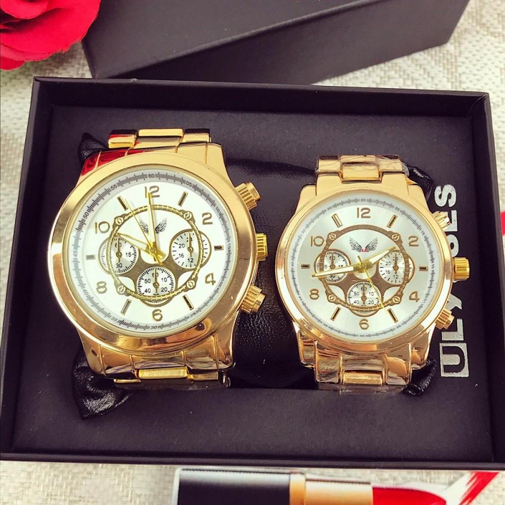 OFERTA SOC! Doar 119 RON Set 2 ceasuri el si ea din metal auriu cu cadran alb + CUTIE CADOU