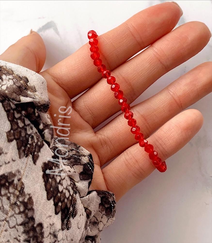 Bratara dama elastica cu margele rosii