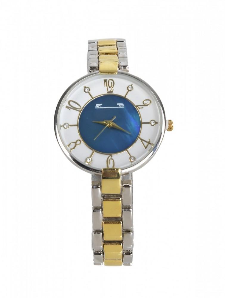 Ceas dama auriu cu argintiu minimalist cu bratara metalica si cadran alb cu albastru superb