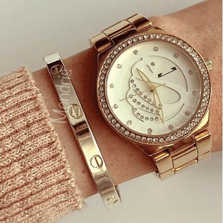 Ceas dama auriu bratara metalica cu pietricele si cadran alb cu model