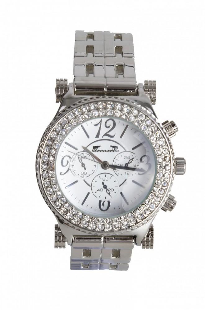 Ceas dama argintiu cu bratara metalica si cadran cu pietricele si cadrane interioare