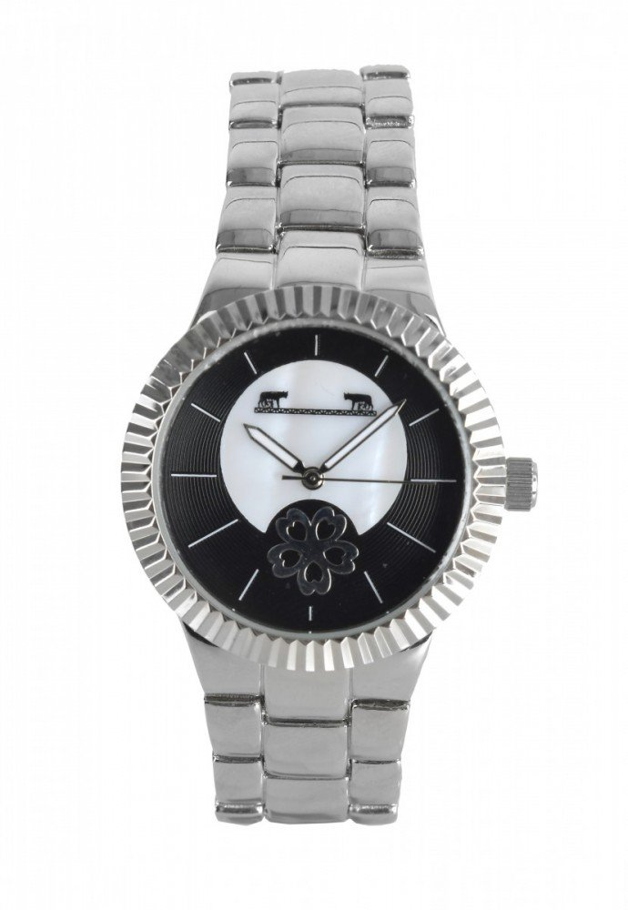 Ceas dama cu cadran argintiu si negru cu o floare interesanta