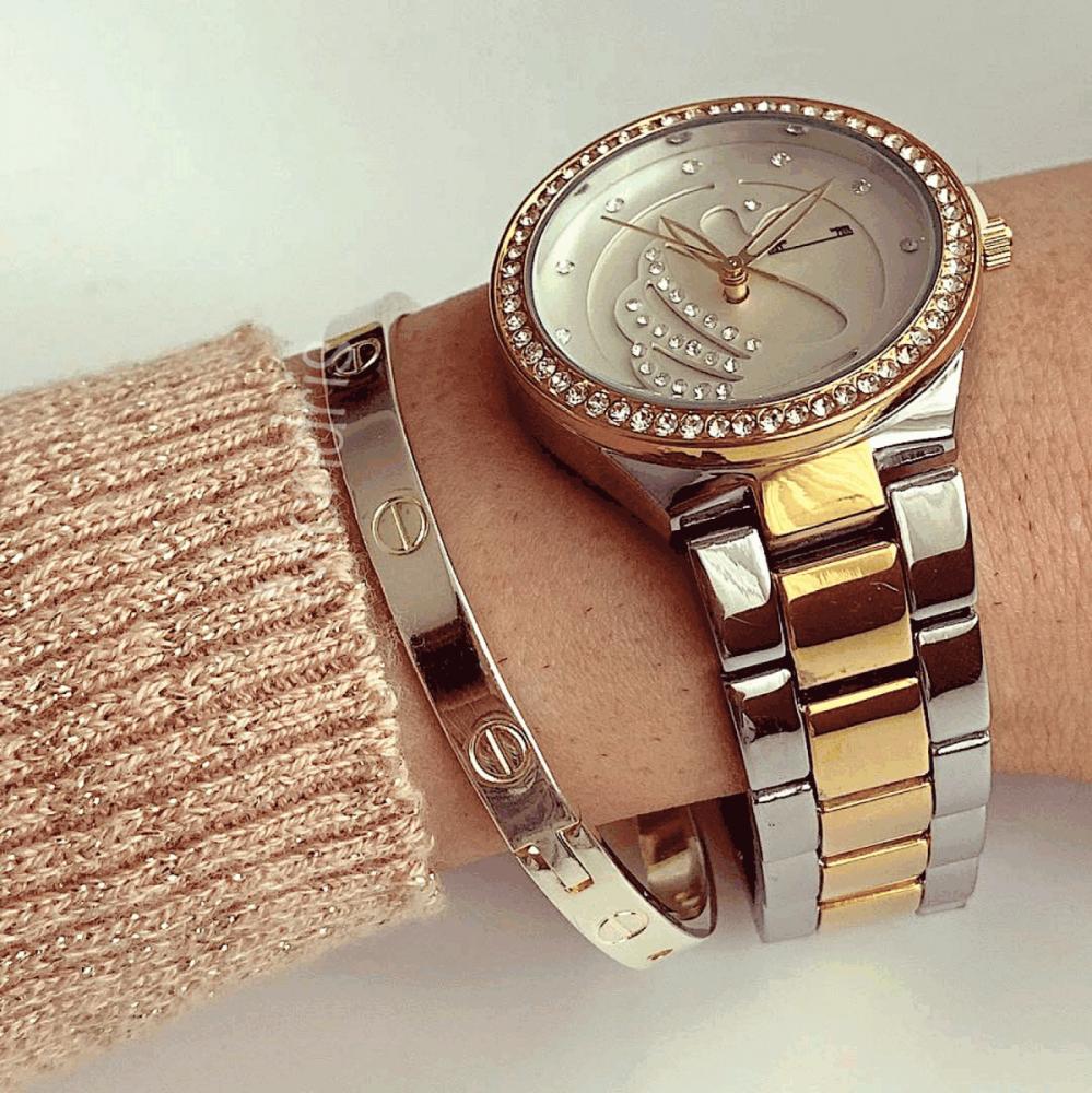 Ceas dama auriu cu argintiu si cadran alb cu model cu pietricele