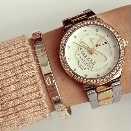 Ceas dama auriu cu argintiu cu bratara metalica si cadran alb cu model cu pietricele