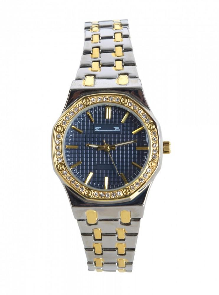 Ceas dama argintiu cu auriu bratara metalica cu cadran albastru inchis si pietricele