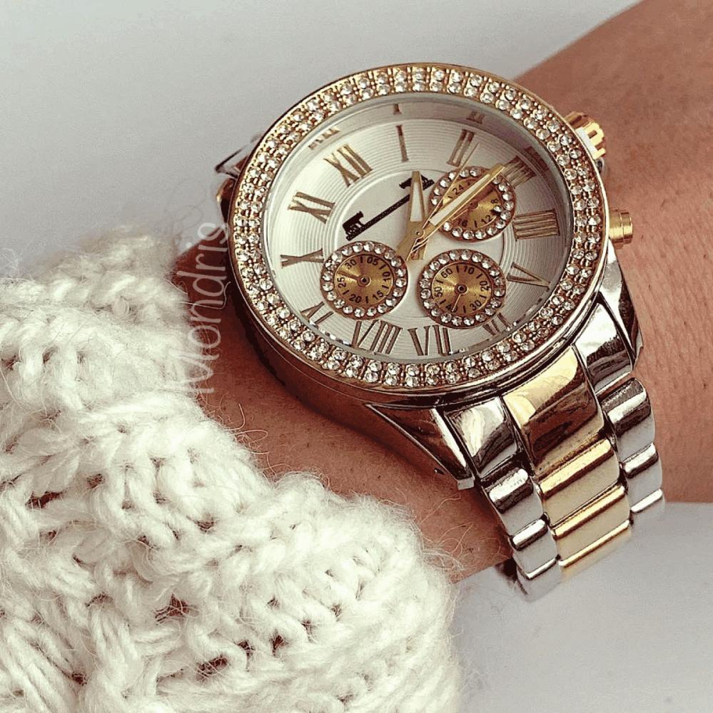 Ceas dama cu pietricele auriu cu argintiu si cifre romane
