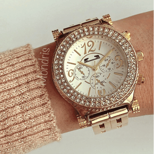 Ceas dama auriu cu cifre arabe si pietricele pe tot cadranul