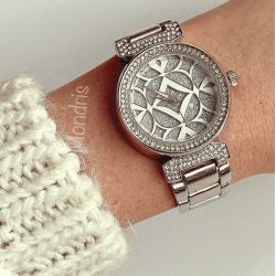 Ceas dama argintiu cu multe pietricele si model pe cadran