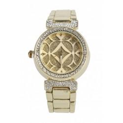 Ceas dama auriu cu multe pietricele si model pe cadran