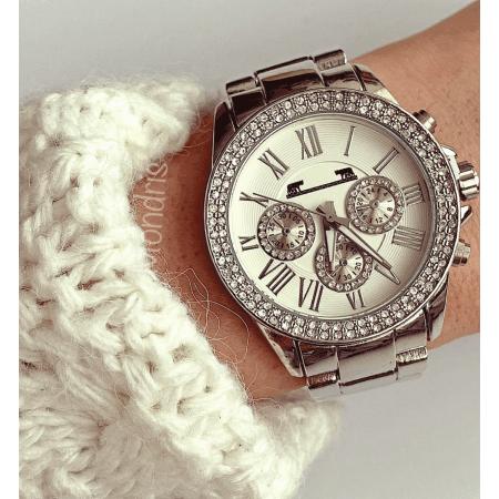 Ceas dama argintiu cu cifre romane pietricele pe cadran si 3 mini cadrane