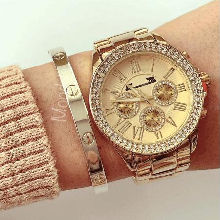 Ceas dama auriu cu cifre romane pietricele pe cadran si 3 mini cadrane