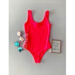 Body dama ieftin din bumbac roz neon cu bretele