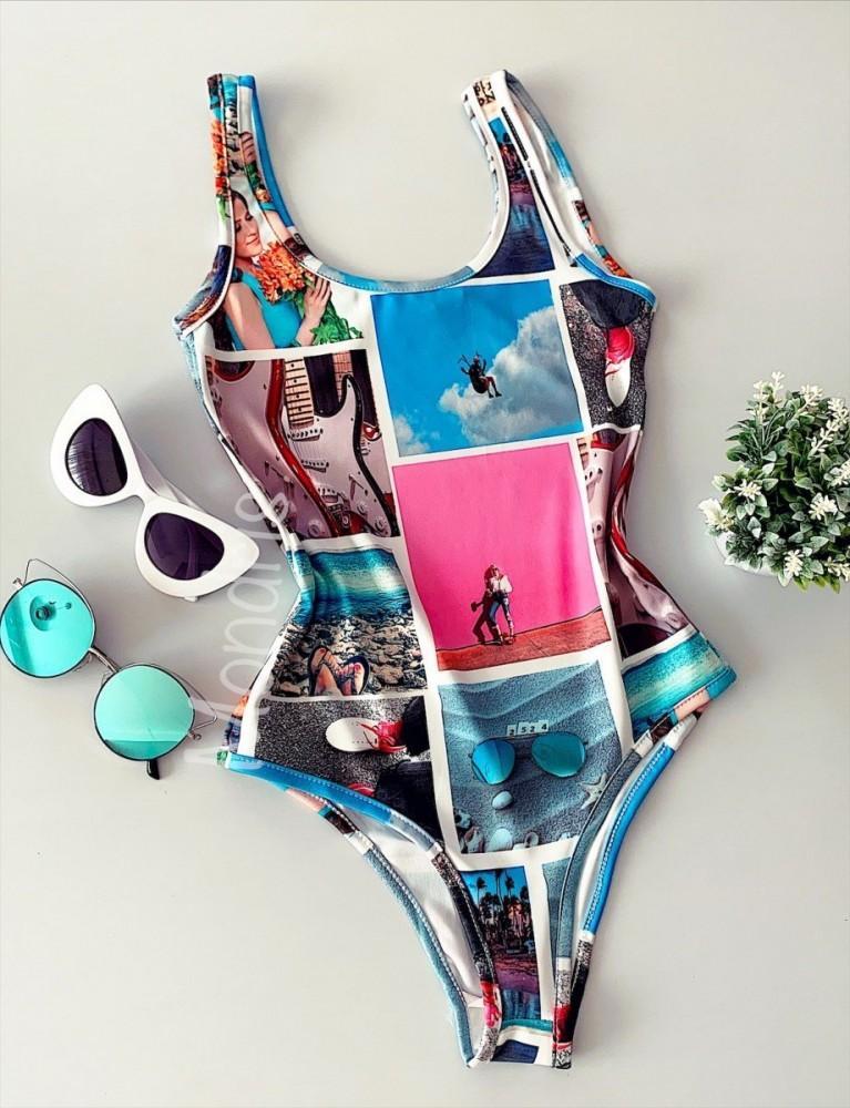 Body dama ieftin bumbac albastru si roz cu imprimeu colorat Beach