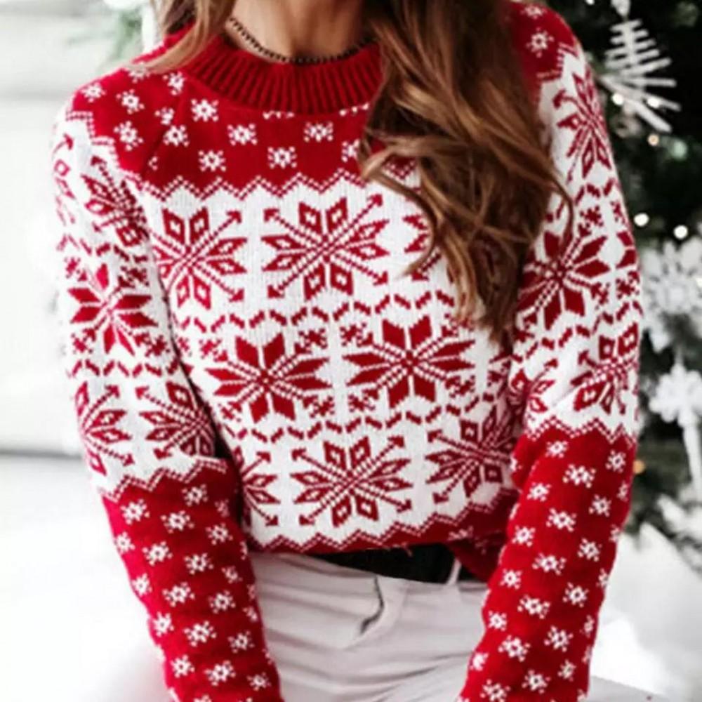 Pulover dama de Craciun din tricot rosu cu imprimeu Fulgi de nea