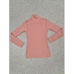 Pulover dama ieftin gros din tetra roz pudrat reiat cu guler inalt