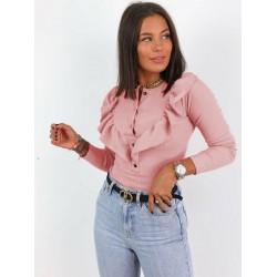 Bluza dama basic roz pudra reiata cu volanase si nasturi