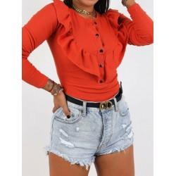 Bluza dama basic portocalie reiata cu volanase si nasturi