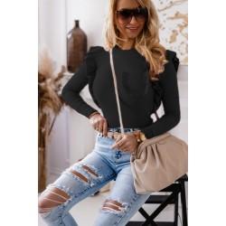 Bluza dama basic negru reiata cu buzunar si volanase