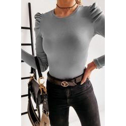 Bluza dama basic gri reiata simpla si cu umeri bufanti