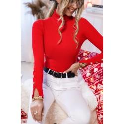 Bluza dama basic rosie reiata pe gat cu despicatura la maneci