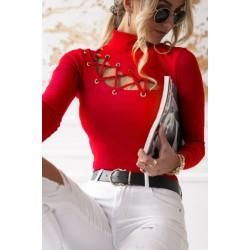 Bluza dama basic rosie reiata cu snur zig-zag