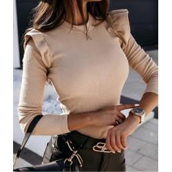 Bluza dama basic crem reiata cu volanase mici