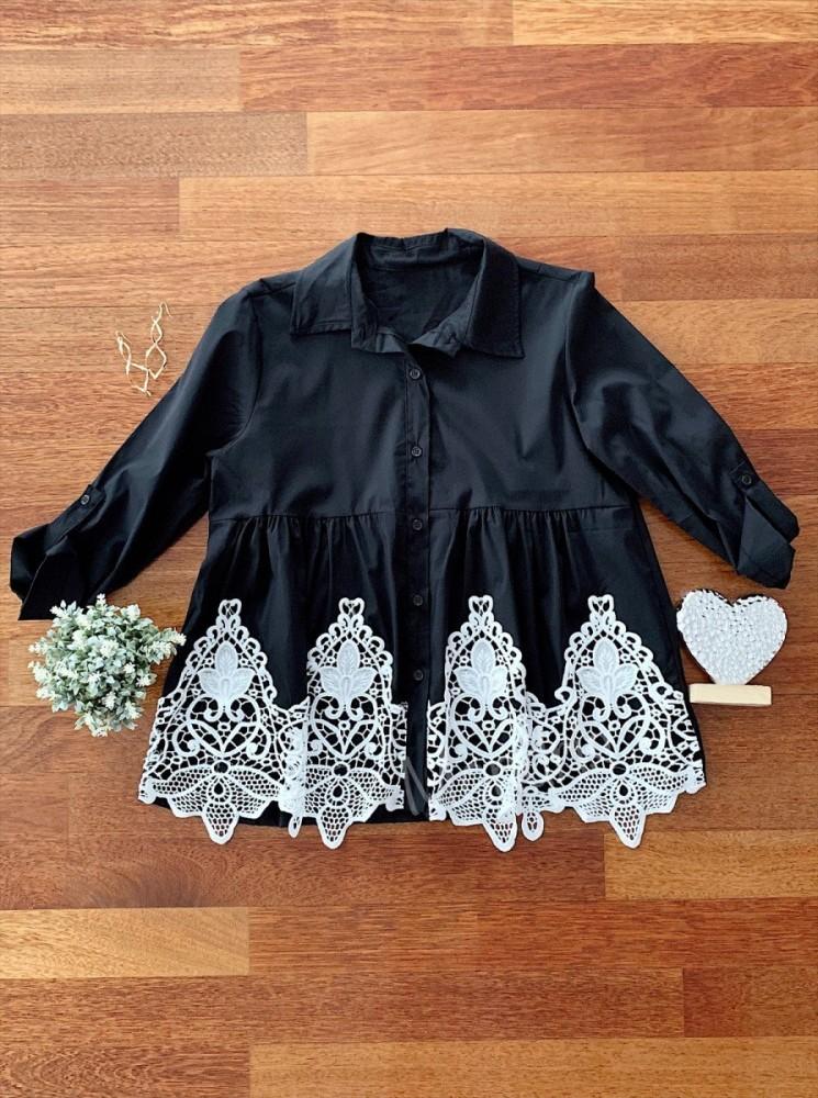 Camasa dama casual eleganta neagra cu broderie alba, nasturi si maneca lunga