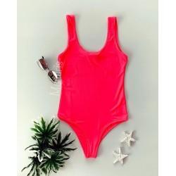 Body dama ieftin roz neon din bumbac cu bretele