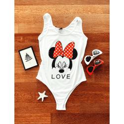 Body dama ieftin alb tip maieu cu imprimeu Minnie Mouse