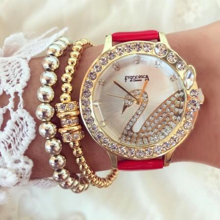 Ceas dama elegant rosu cu cadran rose si pietricele cu imprimeu lebada si curea din piele ECO Francesca