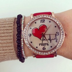 Ceas dama elegant rosu cu cadran rose si pietricele cu imprimeu inima si curea din piele ECO Francesca