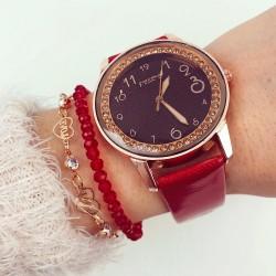 Ceas dama elegant rosu cu cadran negru si pietricele si curea din piele ECO Francesca