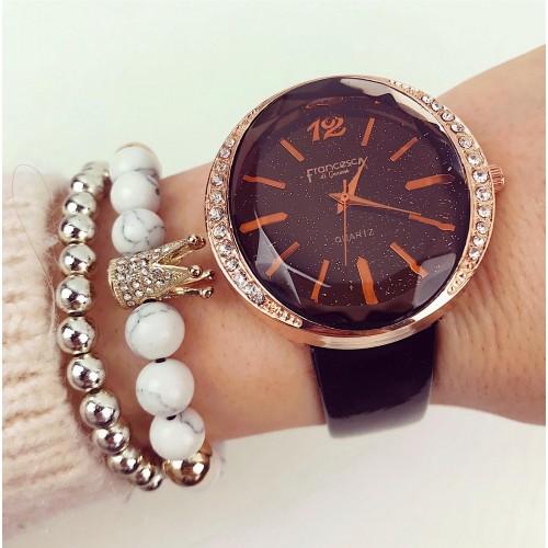 Ceas dama ieftin elegant negru cu pietricele si curea din piele ECO Francesca