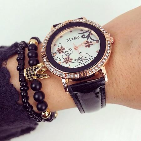 Ceas dama negru cu roze cu pietricele si curea din piele ECO MxRe