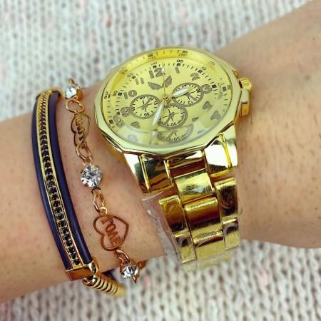 Ceas dama auriu cu cadran auriu cu linii subtiri si bratara metalica