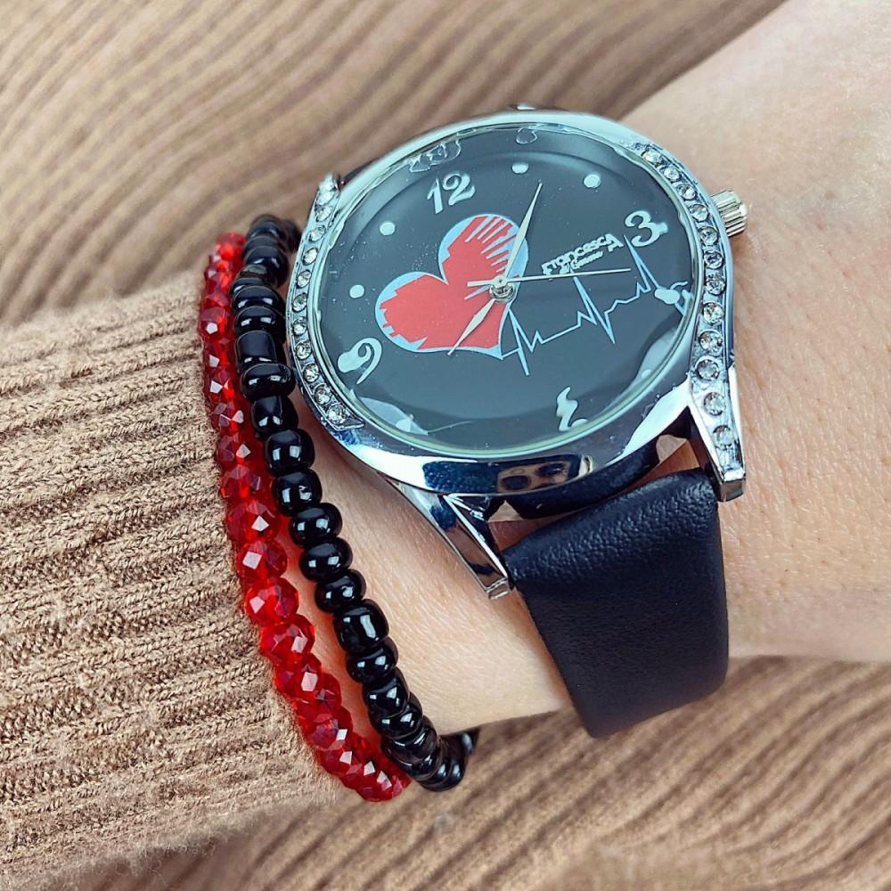 Ceas dama elegant negru cu pietricele si imprimeu inima si curea din piele ECO Francesca