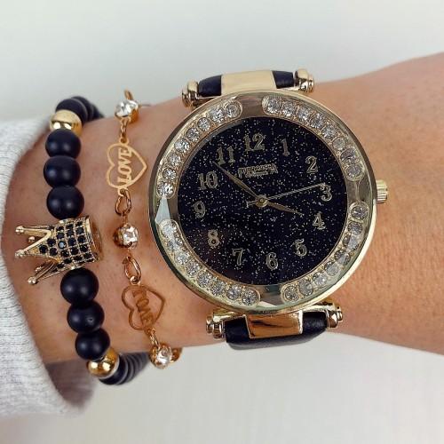 Ceas dama ieftin elegant negru cu auriu si pietricele si curea din piele ECO Francesca