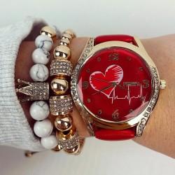 Ceas dama elegant rosu cu pietricele si imprimeu inima si curea din piele ECO Francesca