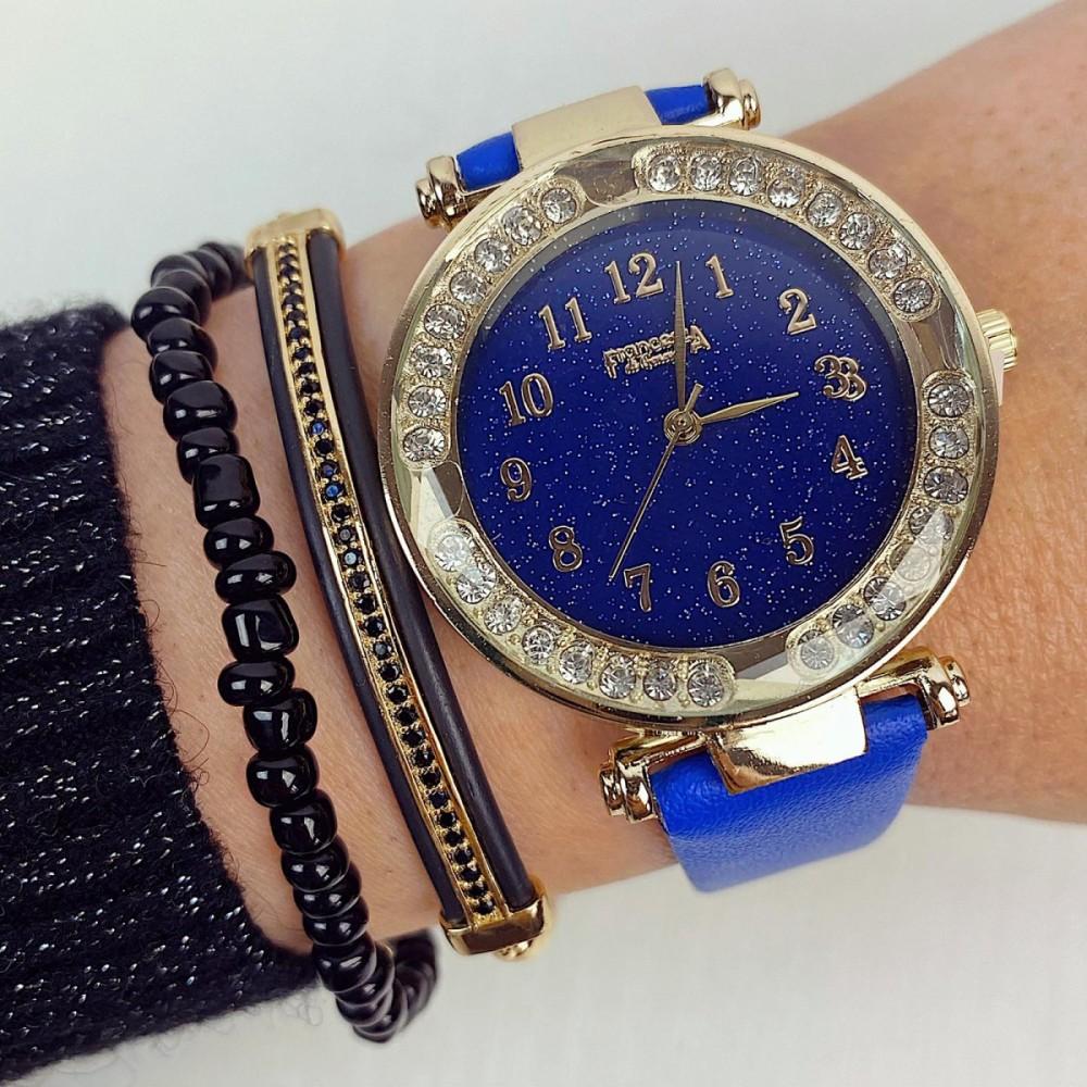 Ceas dama albastru si cadran auriu cu sclipici si curea din piele ECO Francesca