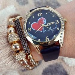 Ceas dama elegant negru cu auriu si imprimeu inima si curea din piele ECO Francesca
