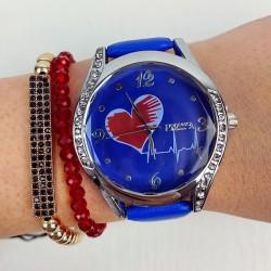 Ceas dama elegant albastru cu argintiu si imprimeu inima si curea din piele ECO Francesca