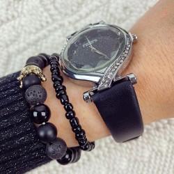 Ceas dama negru si cadran argintiu cu sclipici si curea din piele ECO Francesca