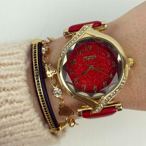 Ceas dama rosu si cadran auriu cu sclipici si curea din piele ECO Francesca