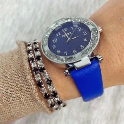 Ceas dama albastru si cadran argintiu cu sclipici si curea din piele ECO Francesca