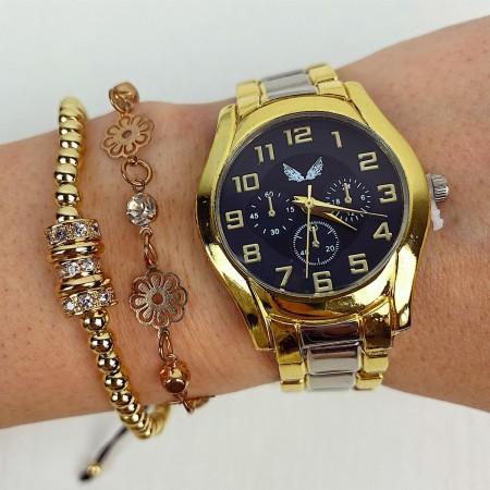 Ceas dama auriu si cadran negru cu bratara metalica Francesca