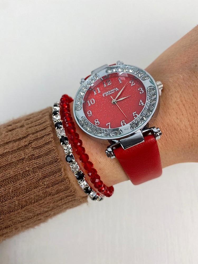 Ceas dama rosu si cadran argintiu cu sclipici si curea din piele ECO Francesca