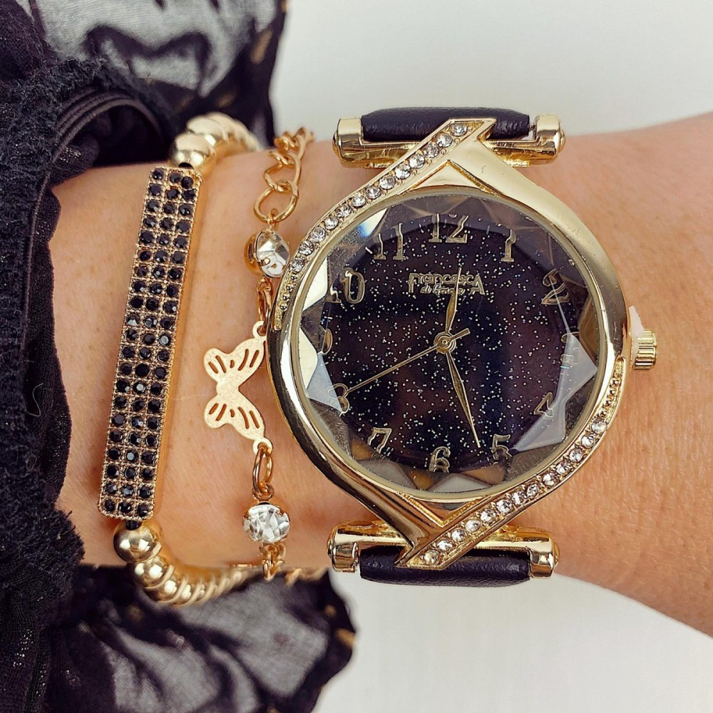 Ceas dama negru si cadran auriu cu sclipici si curea din piele ECO Francesca