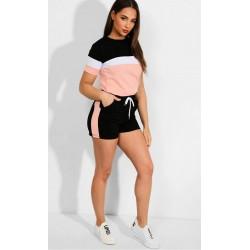 Trening dama din bumbac negru cu roz si pantaloni scurti Minimal